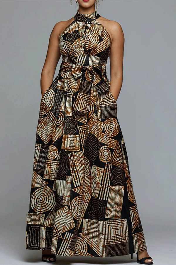 Floor-Length Stand Collar Sleeveless Print Dress
