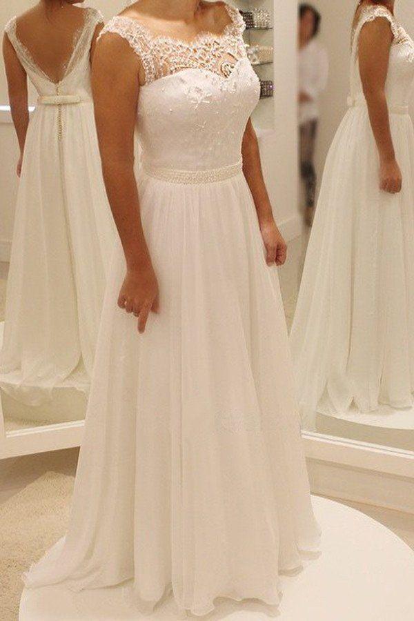 Cap Sleeve Lace Beach Wedding Dresses, 2017 Chiffon Long Custom Weddin – SposaDesses