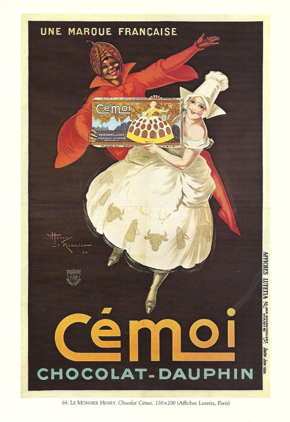 Vintage French FOOD, CHOCOLATE advertisement poster - girl 1930s. $9.00, via Etsy.