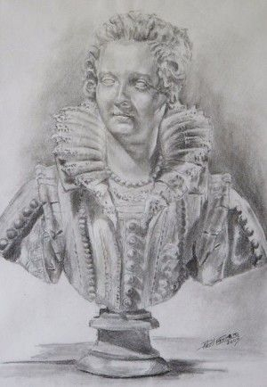 Maria Barberini Duglioli, Study On Finelli 11 x 16. Graphite stick drawing on cartridge paper, Phillip Carrero.