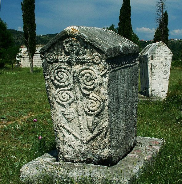 They were a common tradition amongst Bosnian, Catholic and Orthodox Church followers alike. The epitaphs on them are mostly written in extinct Bosnian Cyrillic alphabet. The one of largest collection of these tombstones is named Radimlja, west of Stolac in Bosnia and Herzegovina.