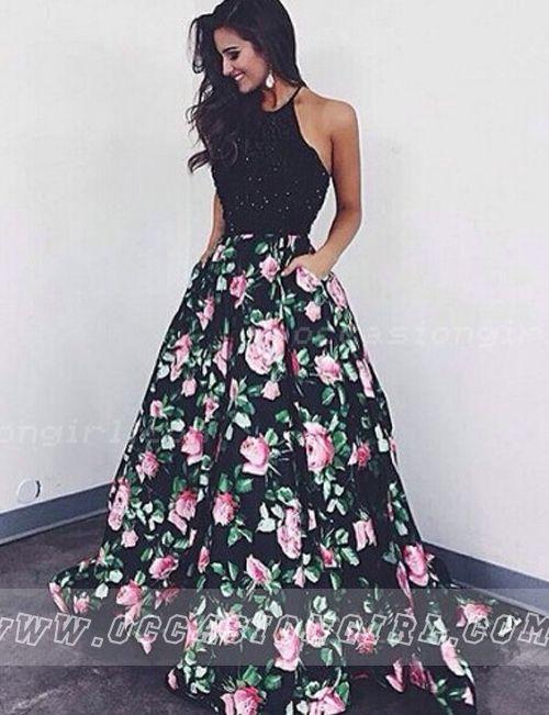 black two-piece prom dress 2016
