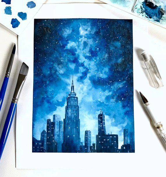 Watercolor New York City Painting, FINE ART PRINT, Skyline, Galaxy Painting