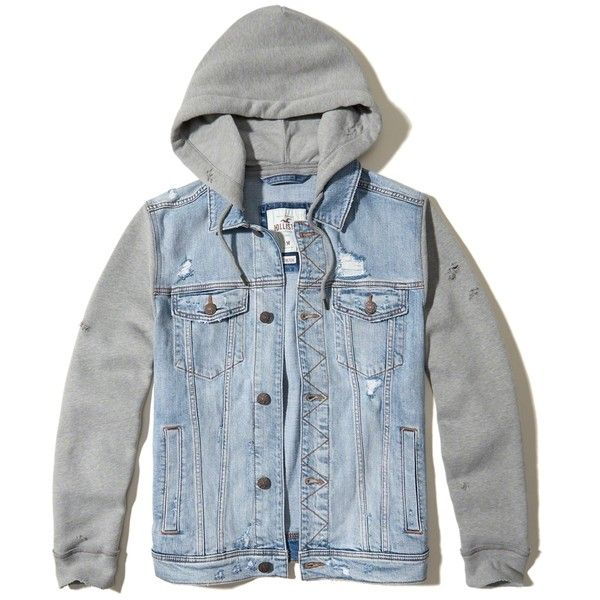 Hollister Hoodie Denim Jacket ($90) ❤ liked on Polyvore featuring men's fashion, men's clothing, men's outerwear, men's jackets, light wash, mens short sleeve jacket, mens hooded denim jacket, mens hooded jean jacket, mens distressed leather jacket and mens utility jacket