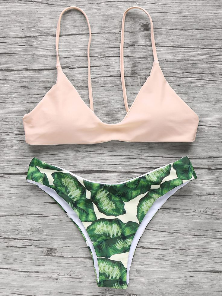 Pink and Green Leaf Print Cami Elastic Bikini Set #Pink_and_Green #Leaf_Print #Bikini #Fashion