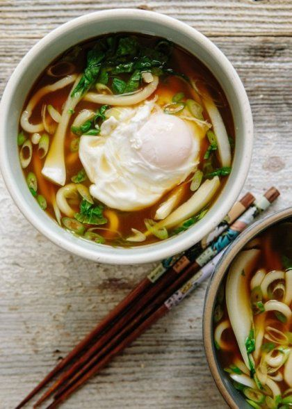 Mix up weeknight repertoire with a comforting bowl of udon soup! Even the poached egg is cooked in the same pot.