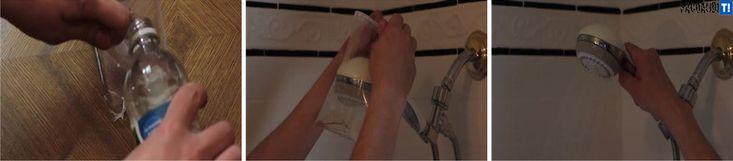 Desatascar grifos de ducha obstruidos: Una bolsa de plástico llena de vinagre, cubriendo completamente el grifo de la ducha durante 15 minutos, es la solución.