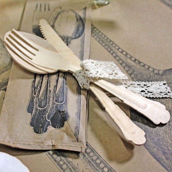 Vintage Wooden Cutlery Set