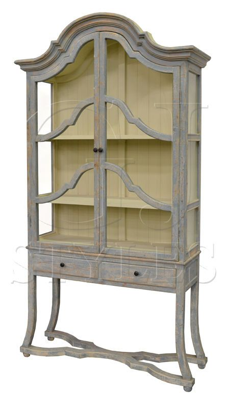Arched Cabinet Distressed Light Blue Pine Cabinet,Bookcase ,Curio,98''H. #Unbranded #FrenchCountry