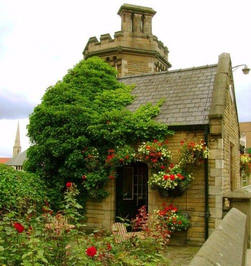 tiny brick cottage in Yorkshire, now a tea and scone shop
