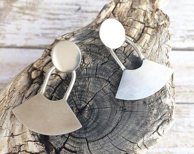 Sterling silver stud earrings dangle and drop - tribal earrings - geometric earring  Handmade by Carla Amaro