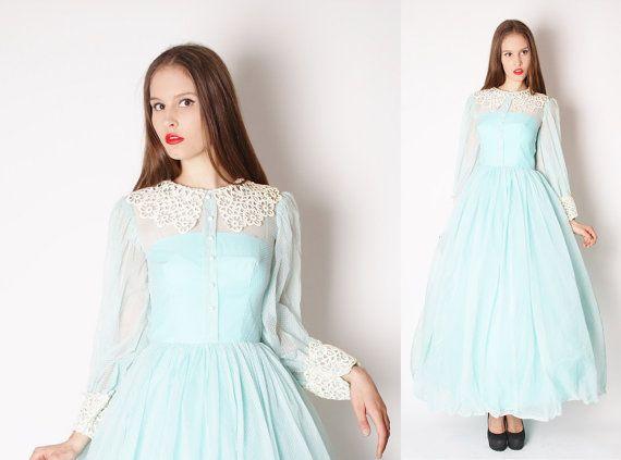 Vintage 50s blue wedding dress long 50s wedding dress for Dotted swiss wedding dress