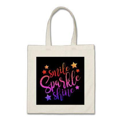 Smile Sparkle Shine Black Multi Coloured Tote Bag - glitter glamour brilliance sparkle design idea diy elegant