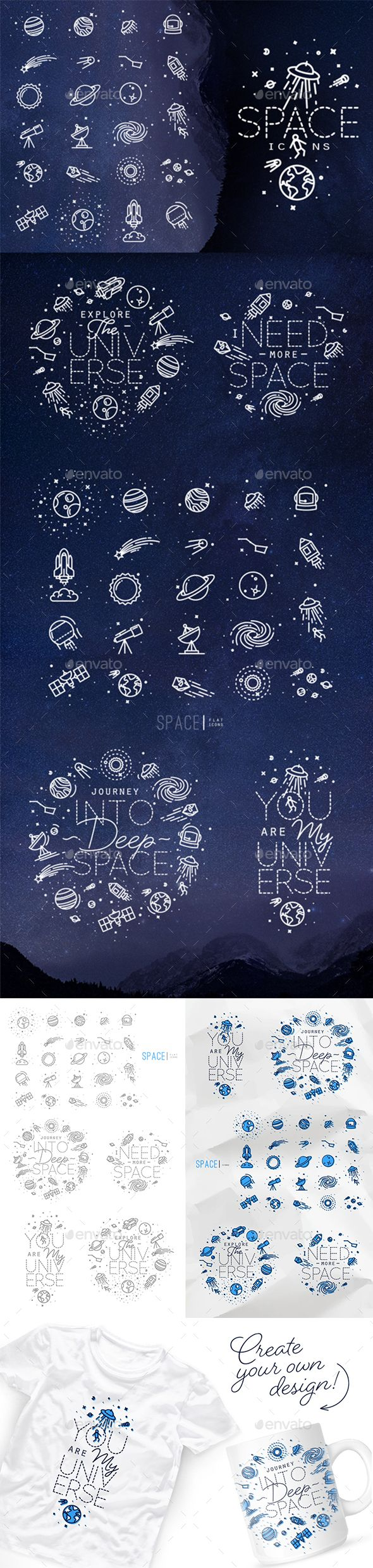 Space Icons — Photoshop PSD #vector #spaceship • Download ➝ https://graphicriver.net/item/space-icons/19975848?ref=pxcr