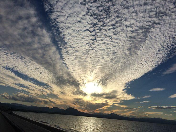 • Loutraki Greece • sea • sun • sky • clouds