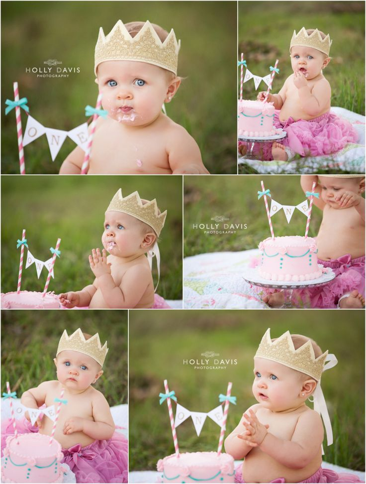 One year old portrait session hot air balloon child portrait cake smash princess holly davis photography