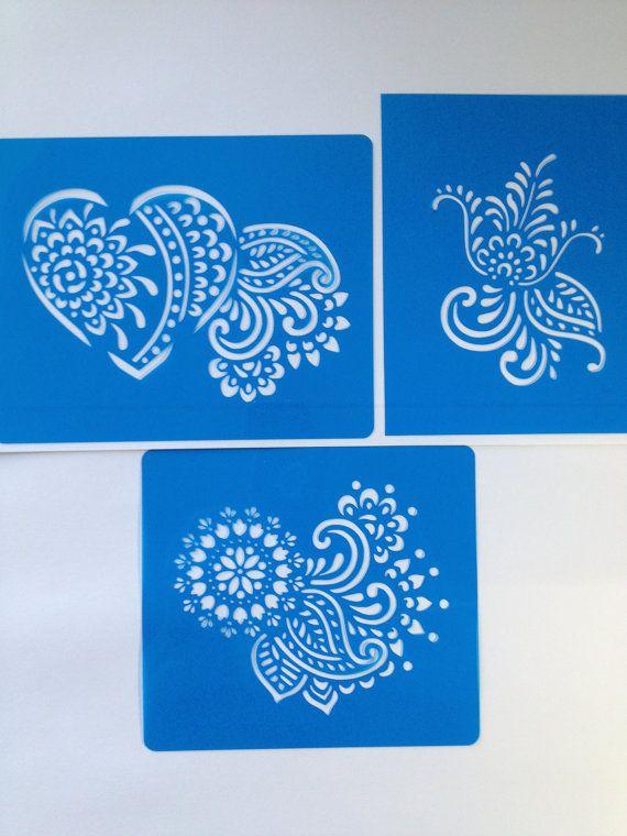 Henna - mehndi cake stencils deco-kit 3 pcs (henna heart) ! -  cake decorating stencils NIKAH