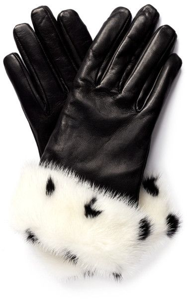VALENTINO Spotted Fur Trim Leather Gloves - Lyst