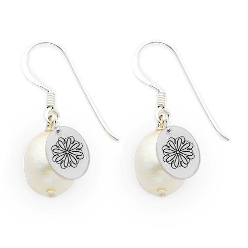Sigma Kappa Symbol Freshwater Pearl Drop Earrings