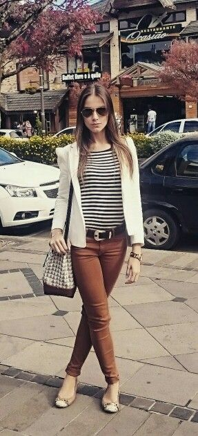 Caramel pants, navy stripes and White blazer