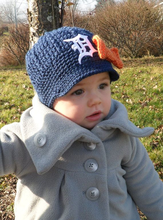 Girls Handmade Detroit Tigers Crochet Newsboy Hat with Old English D Patch / Major League Baseball / Photo Prop / Item 100