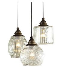 allen   roth Cardington 8.86-in Bronze Hardwired Standard Multi-Pendant Light with Clear Shade