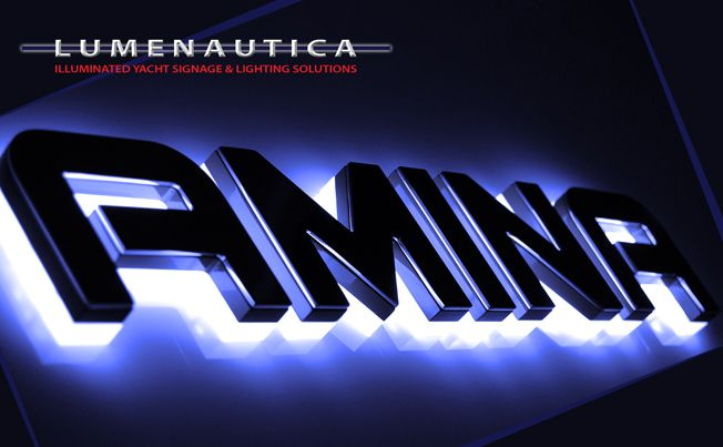 Led Yacht Name Amina Backlit With Blue Leds Polished