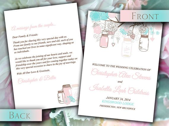 DIY Wedding Fold Over Program Template
