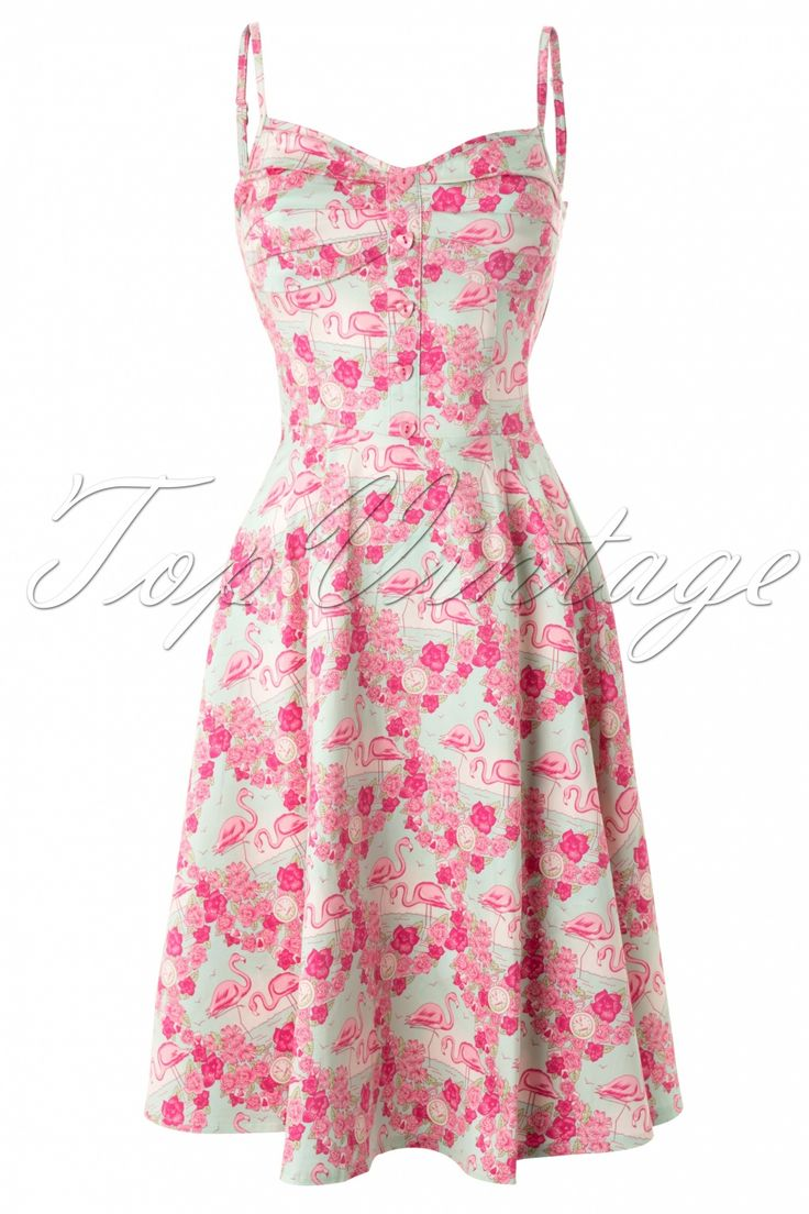 Collectif Clothing - Fairy Flamingo Dress Blue and Pink