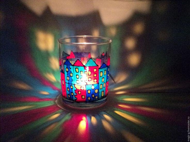 """Купить Подсвечник с витражной росписью """"Город не спит"""" - комбинированный, разноцветный, яркий, подсвечник из стекла"""