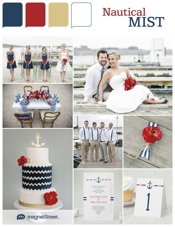 Blue, Red, Gold & White! Nautical wedding inspiration with a fun, vibrant & retro feel.