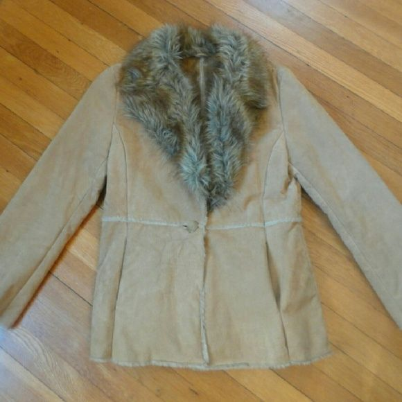 SALE Vintage suede fur trim coat Vintage genuine suede coat with faux fur trim and soft fuzzy lining.  What a fun coat to wear on a night out!! Jackets & Coats