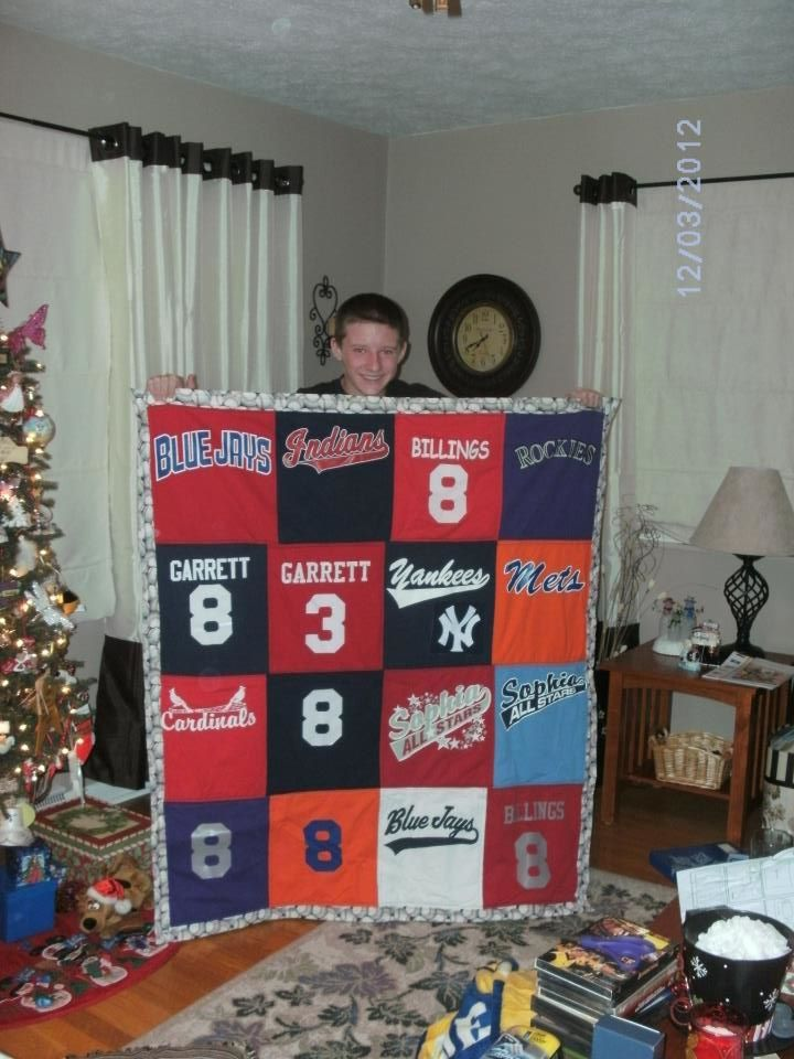 Quilt made from my son's little league jerseys