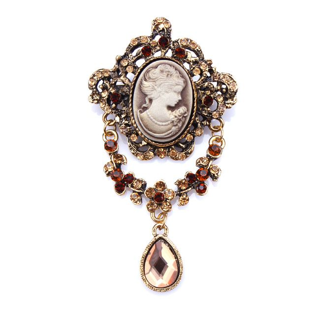 Classic Crystal Rhinestones and Teardrop Cameo Brooches in antique silver / gold plated