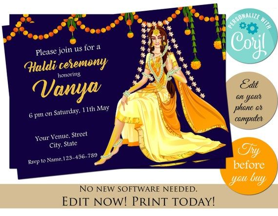 Haldi Invitation Editable Template Instant Download Haldi Gaye Etsy Indian Invitations Haldi Ceremony Invitations