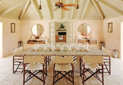 Olivier and Zoe de Givenchy's dining room in the Bahamas designed by Tom Sheerer