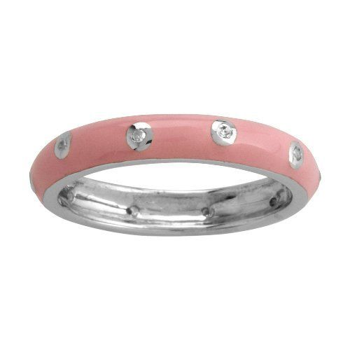 Sterling Silver Light Pink Enamel Diamond-Accent Women's Ring, Size 9 Amazon Curated Collection. $46.00. Made in China. Save 62% Off!