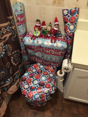 Elf on the shelf ideas Gift wrap the toilet spiderman Christmas wrapping paper frozen Christmas wrapping paper