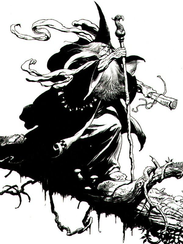 Frazetta's vision of Gandalf, from LORD OF THE RINGS ! Frank was a HUGE fan of the J.R. Tolkien Novel.