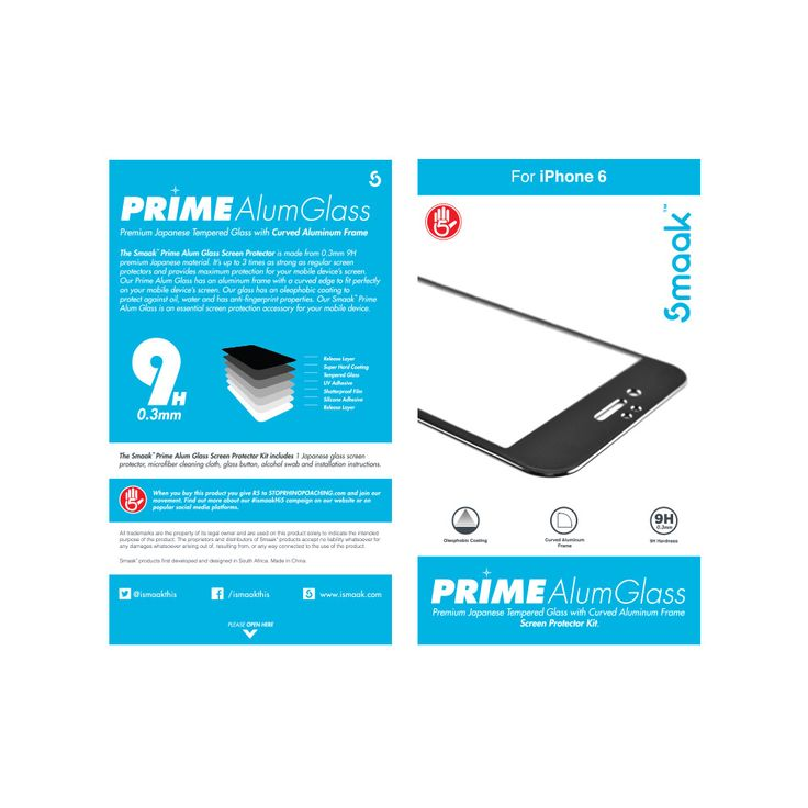 Smaak™ Prime Alum Glass Screen Protector for iPhone 6. For more info visit www,ismaak.co.za