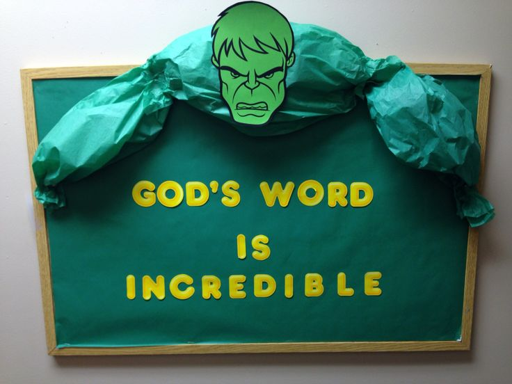 "Sunday school Bulletin Board for our ""Jesus, our real superhero"" study"