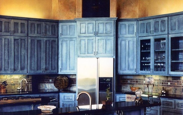 Scenic Rustic Blue Kitchen Cabinets Pure Country Bring Earth Tone House Designs And