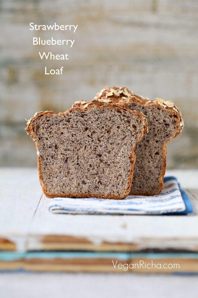 Strawberry Blueberry Bread Loaf. Vegan Recipe