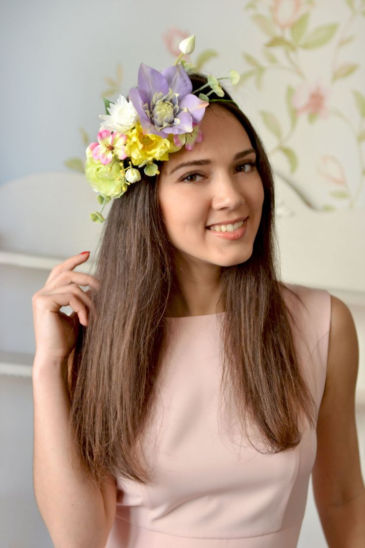 Boho bridal crown Exotic wedding spring floral crown Yellow bridal halo purple flower hair Boho wedding head wreath summer  This Bright exotic hair wreath will be the perfect accessory to the image of the bride. Its great for spring and summer outdoor weddings. The size of the wreath is adjustable with satin ribbons. Each element is woven into the wreath with floral tape.  #exoticflowercrown #weddingcrown #flowercrown #floralcrown #hairwreath #bohocrown