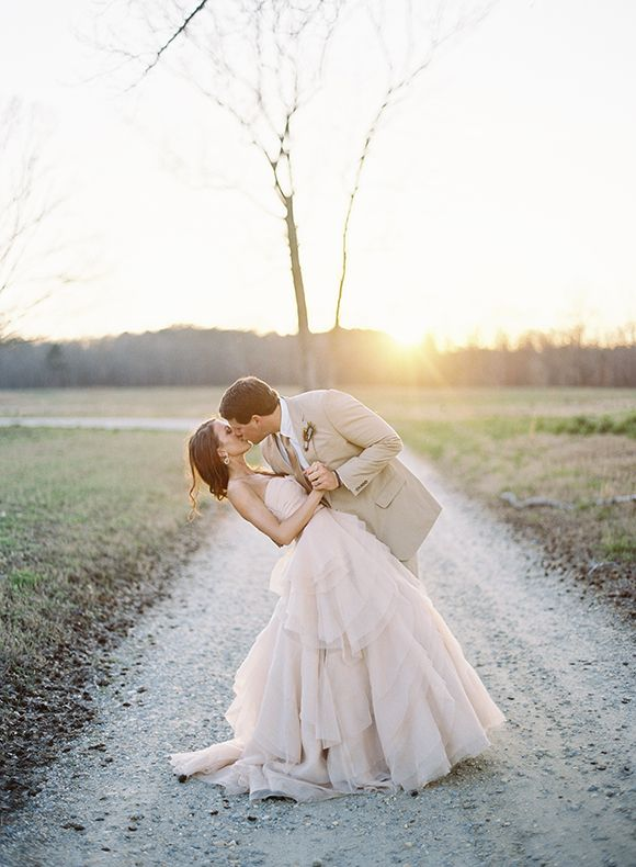 Beautiful dress (the layered skirt is really pretty) for a beautiful, soft wedding. #pasteldressparty