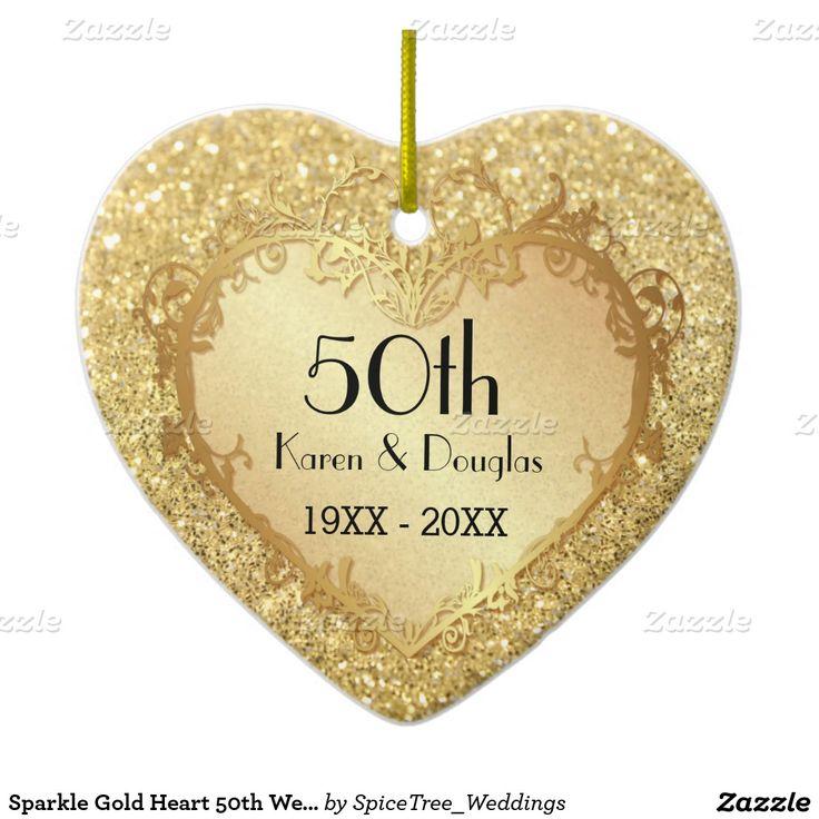 Aniversario de boda del corazón 50.o del oro de la adorno navideño de cerámica en forma de corazón