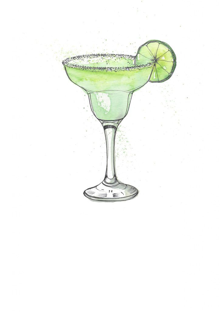 Margarita Cocktail Illustration. I love painting cocktails as watercolour and pen and ink works so well creating the glass and liquid. Commission your very own artwork by clicking the link.