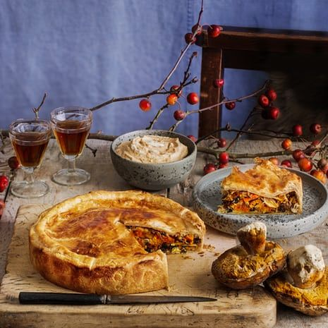 Bruno Loubet's mushrooms, kimchi and sweet potato pie, miso sour cream.