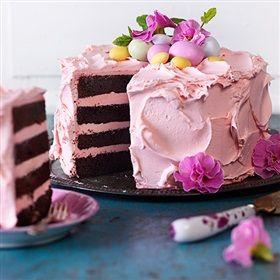 Chocolate cake with pink frosting
