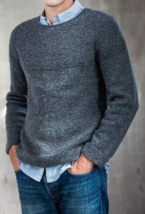 "Knitting Pattern for Cobblestone Pullover - Long-sleeved men's sweater designed by Jared Flood features a rounded garter yoke and garter panels flanking the body on each side. Sizes 39½ (43½, 47½, 51½, 55¾)"" chest"
